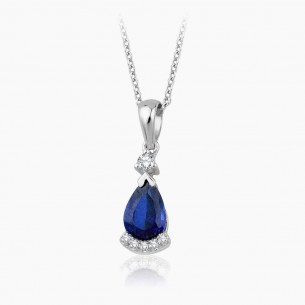 8K White Gold & 1.25 ct Diamond Sapphire Necklace