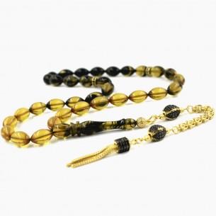 Kehribar Tesbih - Bernstein Gebetskette aus 925 Silber
