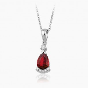 8K White Gold & 1.25 ct Diamond Ruby Necklace