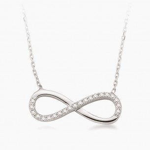14K White Gold & 0.16 ct Diamond Infinity Necklace