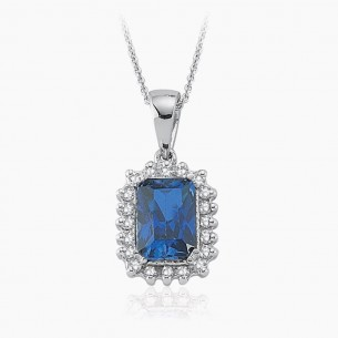 8K White Gold & 1.44 ct Diamond Sapphire Necklace