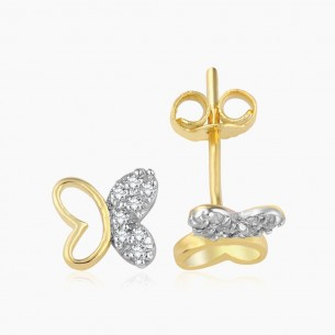 Earring In 14K Gold With 0.07 ct Diamond