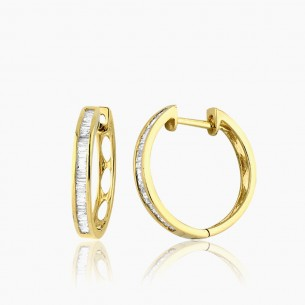 Earring In 18K Gold With 0.18 ct Diamond