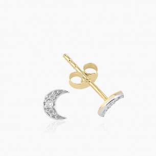 Moon Earring In 14K Gold With 0.06 ct Diamond