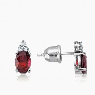 333er Weißgold-Ohrstecker 1.50 ct. Diamant Rubine