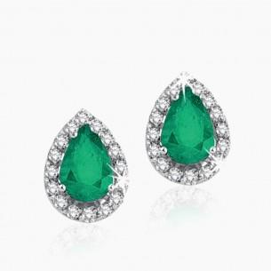 333er Weißgold-Ohrstecker 0,93 ct. Diamant Smaragd