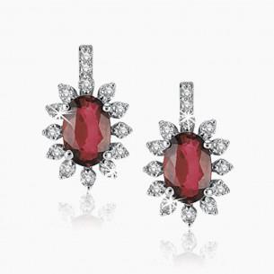 585er Weißgold-Ohrstecker 1.50 ct. Diamant Rubine