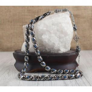 Oltu Tesbih - Gagat Stein Gebetskette aus 925 Silber