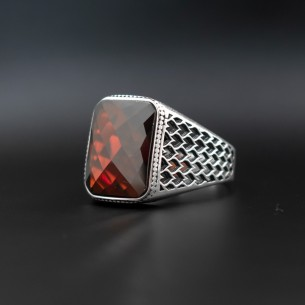 Red Cz Stone 925s Silver Ring