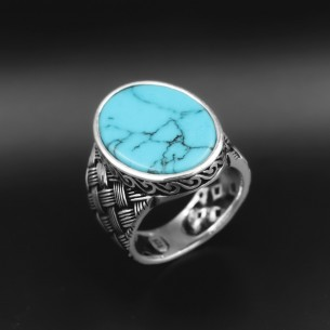 Men's Ring in 925s Silver with Firuze Stone