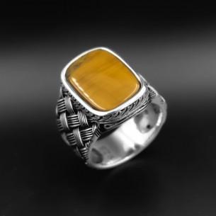 Tiger Eye Stone 925s Silver Signet Ring