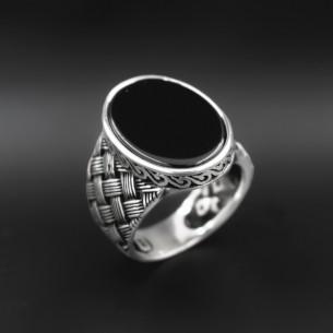 Herren 925er Silberring mit Schwarzer Onyx
