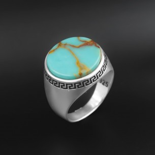 Turquoise Stone Silver Mens...