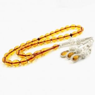 Artificial  Amber w Silver Tassel Tasbih