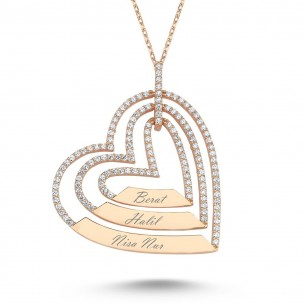 Heart Name Rose Gold 925s Silver Necklace