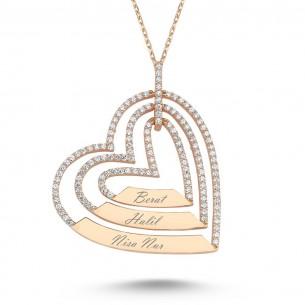 3 Kalpli İsimli Rose Gold Kaplama Gümüş Kolye