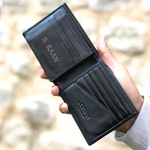 Personalized Black Genuine Leather Wallet
