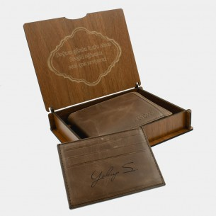 Personalized Genuine Brown Leather Wallet with Gift Box