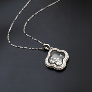 Pave CZ Circle Necklace in Sterling Silver
