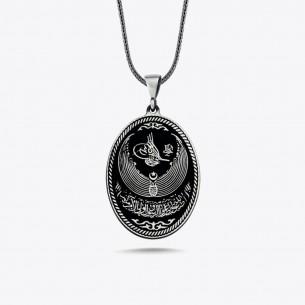 Osmanlı Tuğralı Erkek Gümüş Kolye