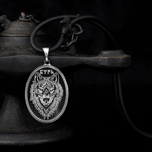 925 Ayar Gümüş Bozkurt Erkek Kolye