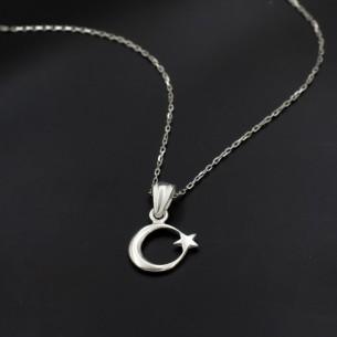 Minik Ay Yıldız 925 Ayar Gümüş Kolye