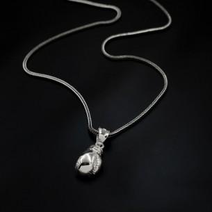 925 Ayar Gümüş Boks Eldiveni Kolye -1