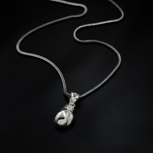 Boxing Glove Biker Pendant Necklace in 925 Sterling Silver -1