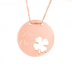Personalized Clover Silver Necklace
