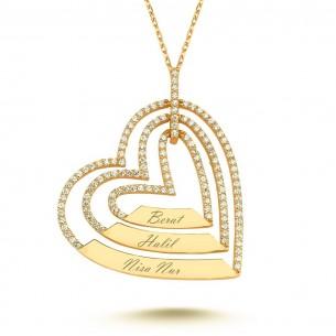 3 Kalpli İsimli Altın Kaplama Gümüş Kolye