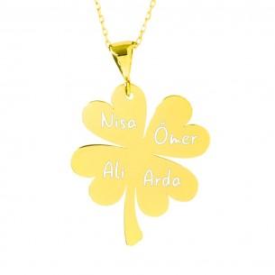Four Names Clover Silver Necklace