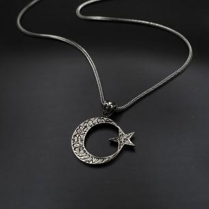 Besmele-i Şerif Erkek Ay Yıldız Gümüş Kolye
