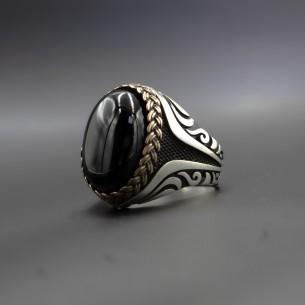 Siyah Oniks Taşlı Gümüş Yüzük