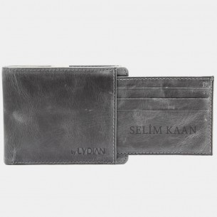 Genuine Leather Wallet Antic Grey Color