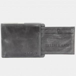 Leder Geldbörse  Antic Grey
