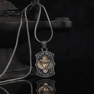 Medusa Motifli 925 Ayar Gümüş Erkek Kolye