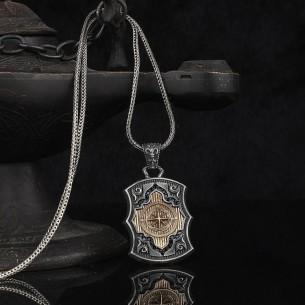 Pusula Motifli 925 Ayar Gümüş Erkek Kolye