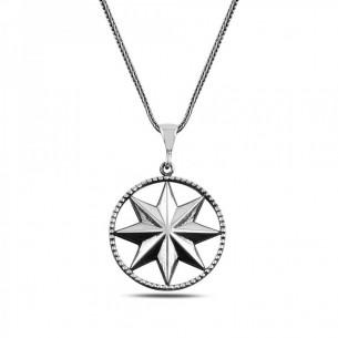 Pusula Yıldızı 925 Ayar Gümüş Erkek Kolye