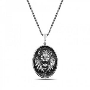 Aslan Kabartmalı 925 Ayar Gümüş Kolye
