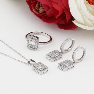 Baguette Silver Necklace, Earring and Ring Set