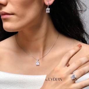 Baguette Silver Necklace,...