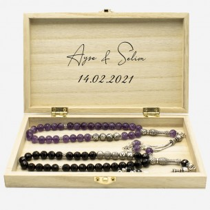 Onyx Ametist Tesbih Gebetskette Set mit 925er Silber