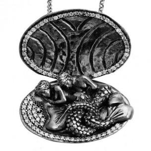 istiridye Kabuğu Deniz Kızı Gümüş Kolye
