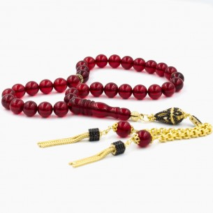 Red Amber Prayer Beads Tasbih w Silver Tessel
