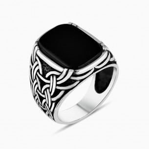Black Onyx Stone Silver Men's Ring