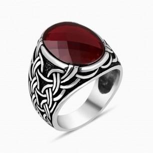 Red Zircon Stone Silver Men Ring