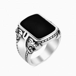 Onyx Black Stone 925 Silberring