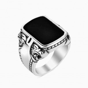 Onyx Black Stone 925 Sterling Silver Ring