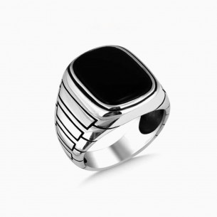 Men Silver Ring with Onyx...