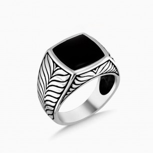 Silver Men's Ring with Black Onyx Stone